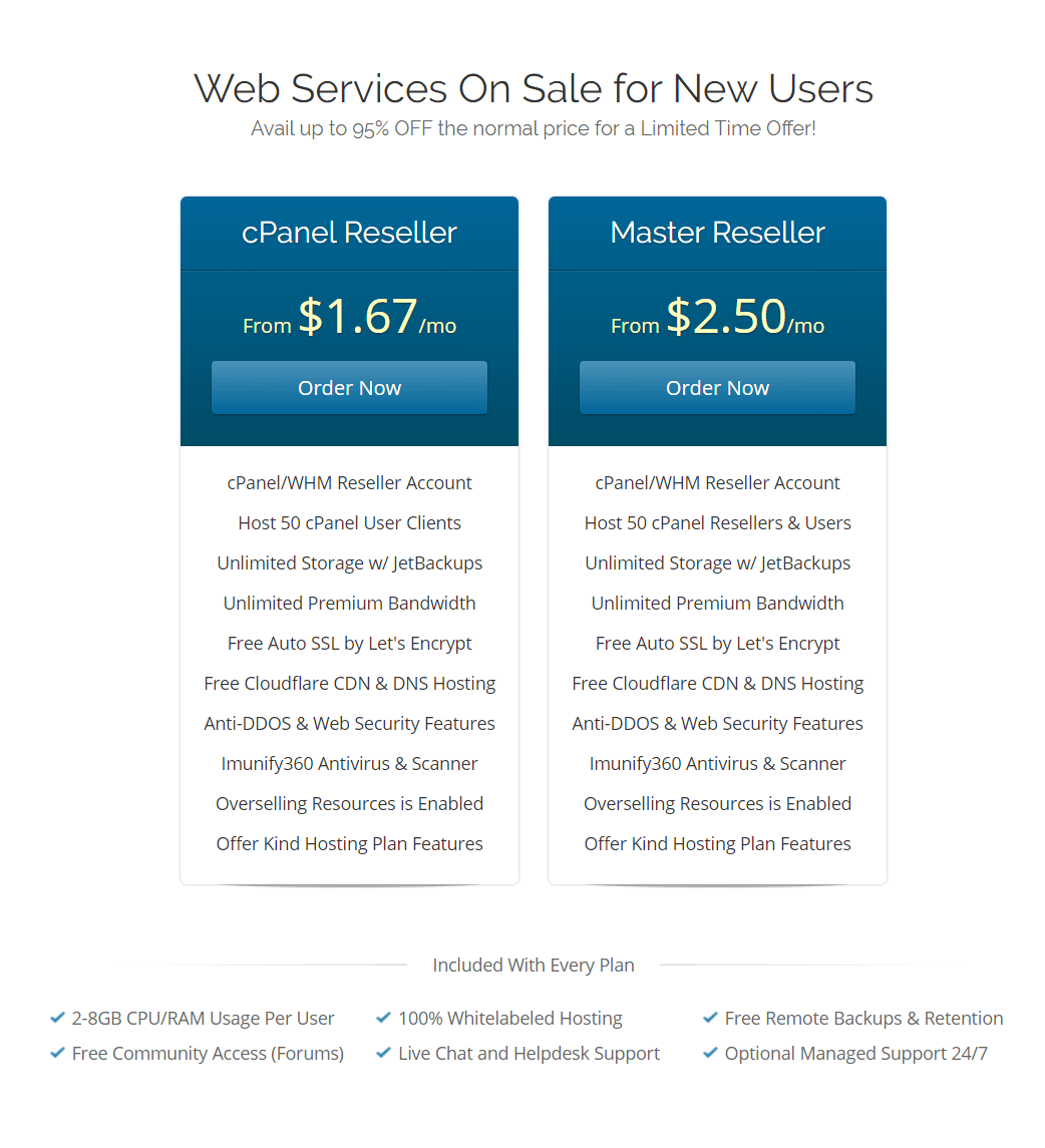 Kind TechGroup Reseller Hosting Pricing